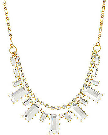 Betsey Johnson Iconic Baguette Boost Baguette Crystal Frontal Necklace