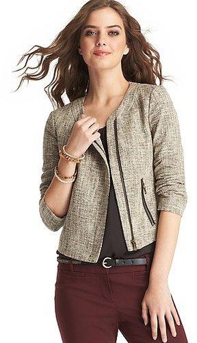 Tweed Asymmetrical Zip Jacket