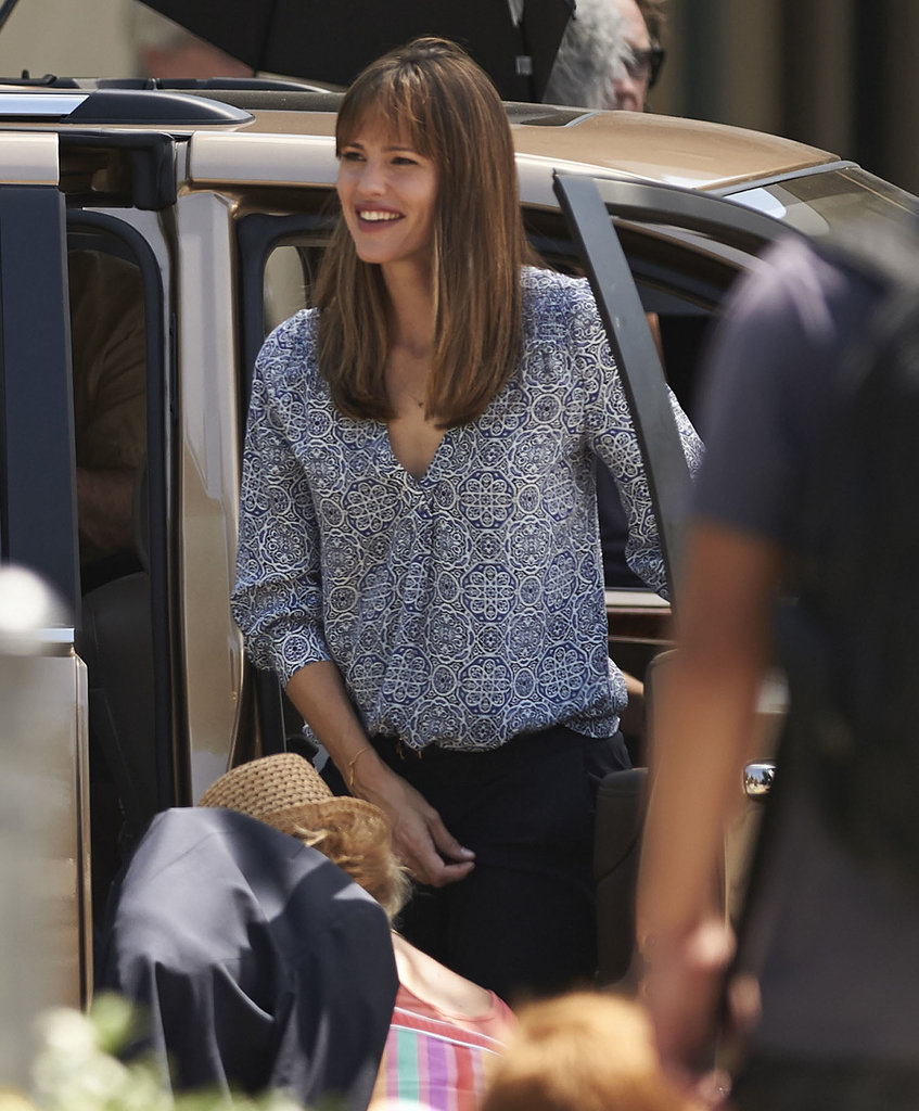 Jennifer Garner flashed a smile on the set of Alexander and the Terrible, Horrible, No Good, Very Bad Day.