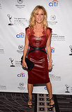 Julie Bowen showed off her figure in a tight red leather dress.