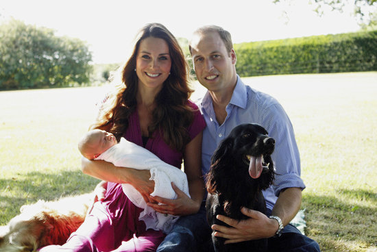 Kate Middleton, Prince William, Prince George, and their dog Lupo all posed for George's first official portrait in Kate's family home in August 2013.