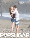 The couple shared a passionate kiss on the beach in Malibu during his birthday celebrations in August 2012.