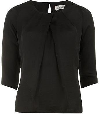 Black pleat neck blouse