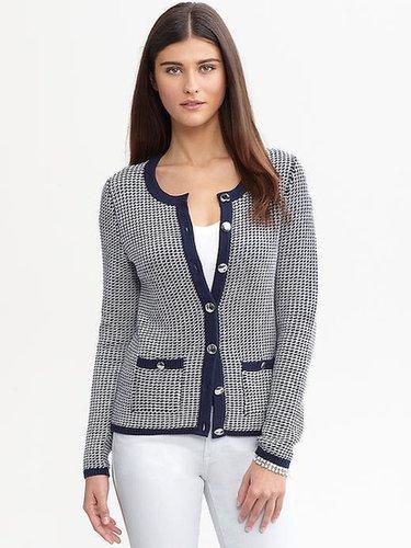 Textured metallic button cardigan