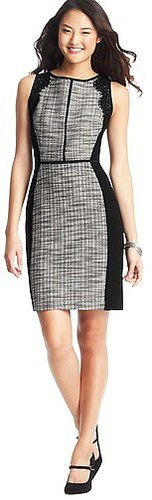 Lace and Mesh Textured Cotton Shift Dress