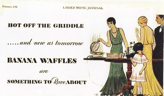 Only in the flapper days (and this 1921 ad) could you look that good making waffles.