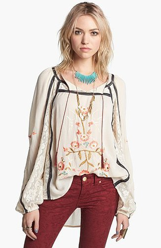 Free People 'Tiger Lily' Embroidered Top French Vanilla X-Small