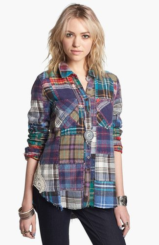 Free People 'Lost in Plaid' Patchwork Shirt Plaid Multi Small