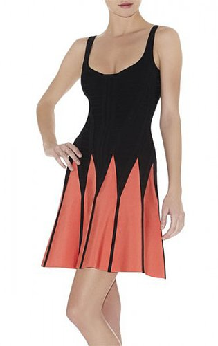 HERVE LEGER MIRTE JAGGED COLORBLOCKED A-LINE DRESS