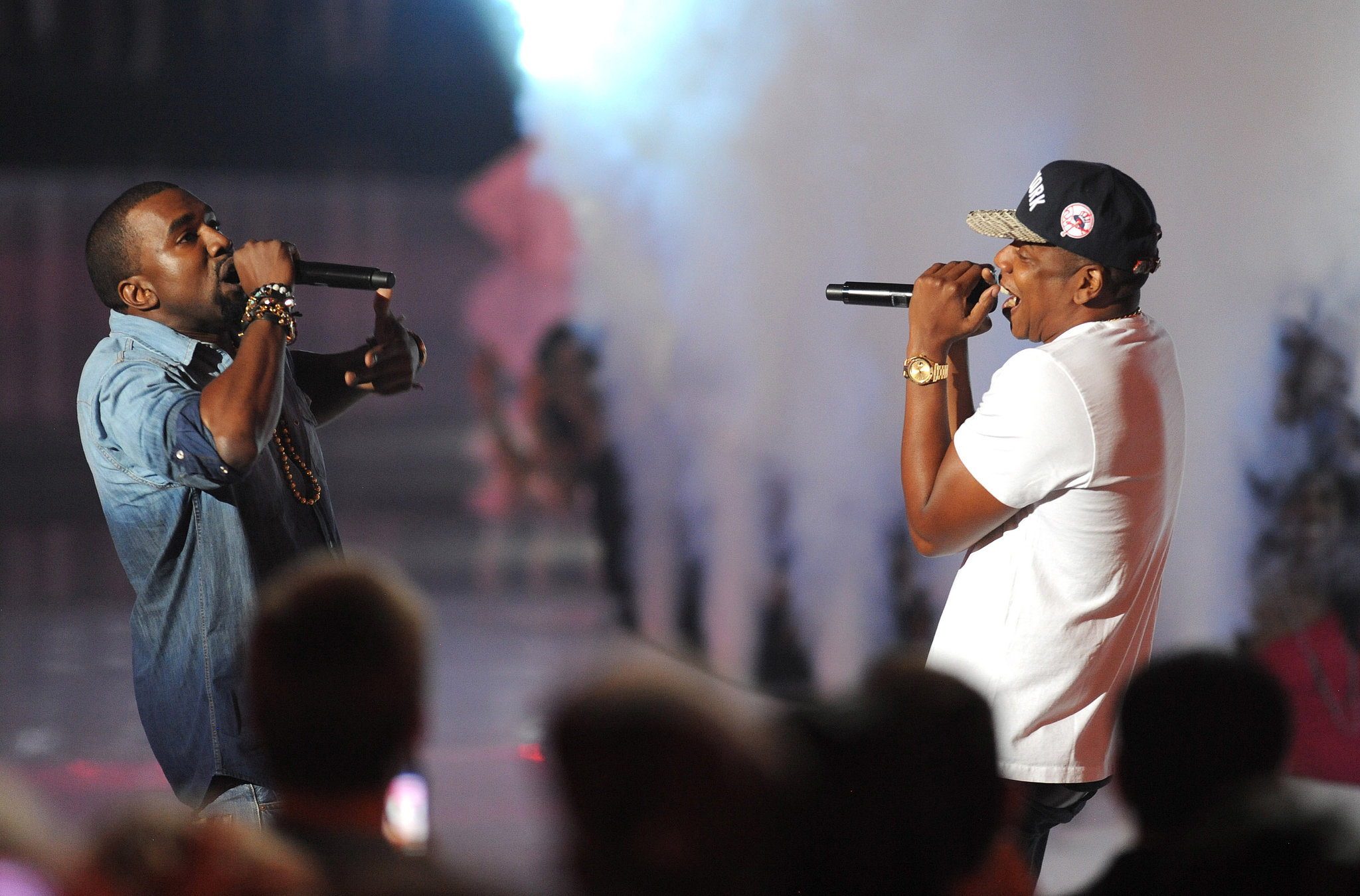 Jay-Z and Kanye West performed together at the show in 2011.