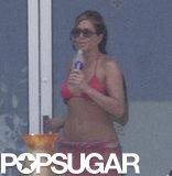Jennifer Aniston walked around her patio.
