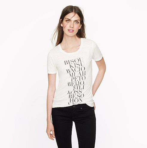 How cute is a J.Crew tee ($45) that basically says kiss me in about 10 different languages.