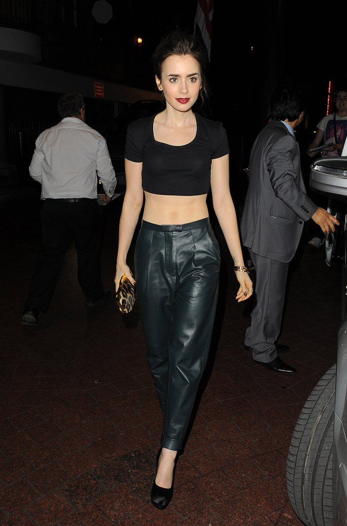 For an appearance in London, Lily bared her midriff once again in hip-slung leather trousers and a black crop top.