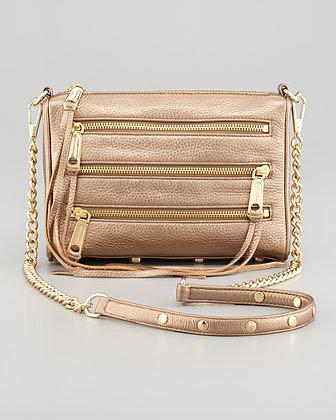 Rebecca Minkoff Five-Zip Mini Metallic Crossbody Bag, Bronze