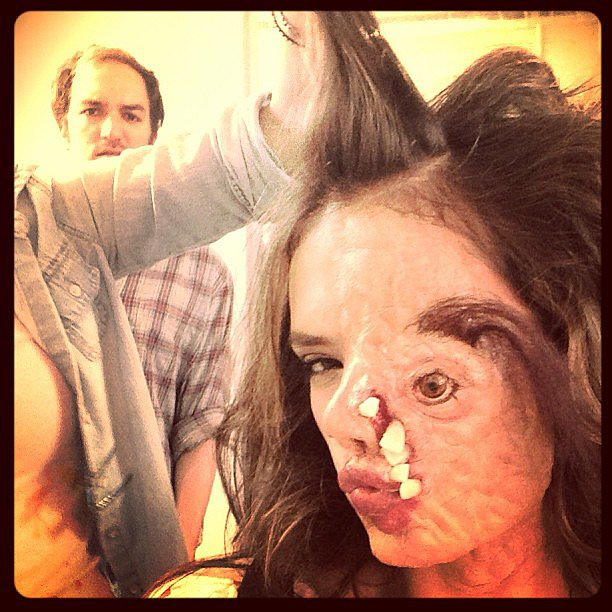 Alessandra Ambrosio wore crazy, creepy prosthetics for a Funny or Die video —and we can't get over how scary this photo is! Source: Instagram user alessandraambrosio