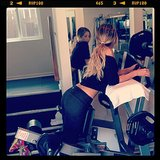 Newly engaged Ashley Tisdale gave us a glimpse at her workout routine. Source: Instagram user ashleytis