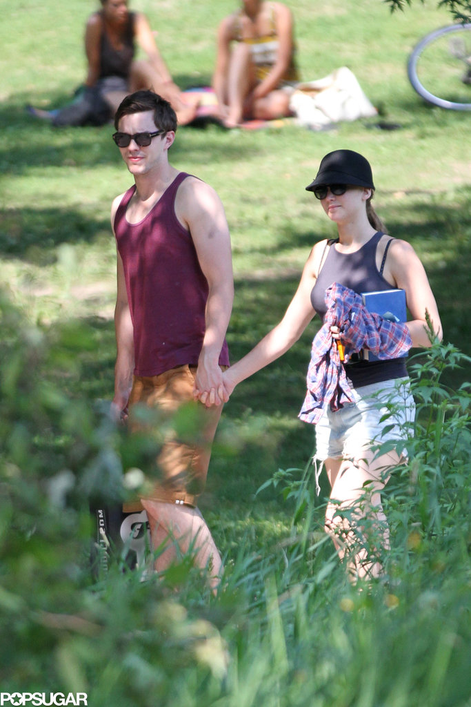 Jennifer Lawrence and Nicholas Hoult held hands at the park.