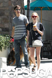 Justin Long walked a dog alongside Amanda Seyfried in LA.