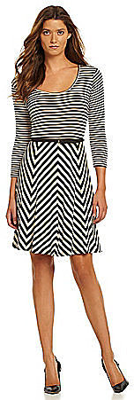Calvin Klein Belted Mix-Stripe Dress