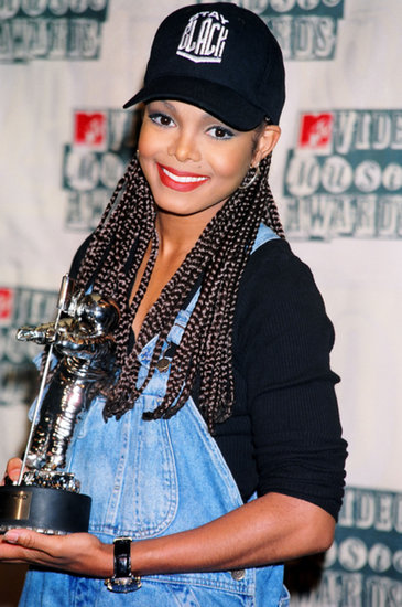 Janet Jackson went for a more casual vibe in 1994, wearing her baseball cap and box braids to receive her award.