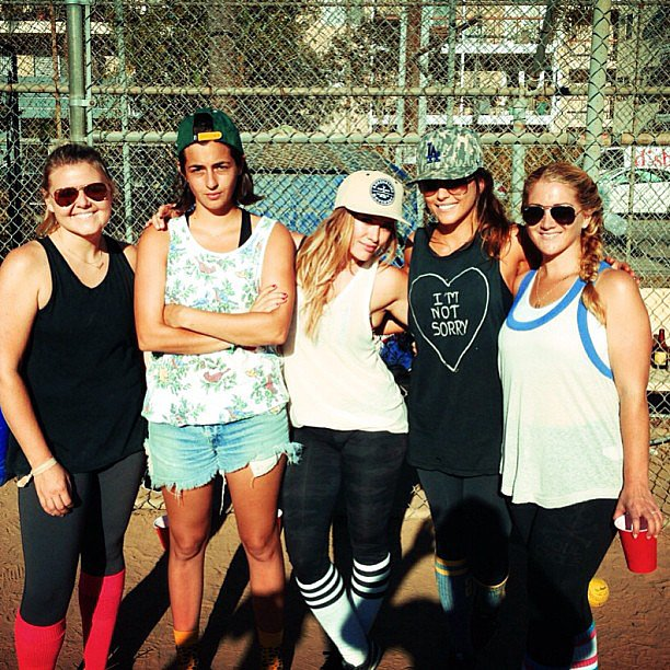 Hilary Duff kept things fit — and fun! — with her ladies over a game of baseball. Source: Instagram user hilaryduff