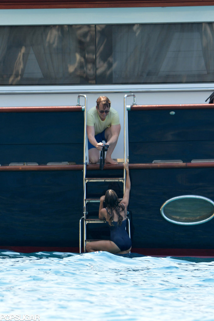Sarah Jessica Parker slipped into a navy one-piece swimsuit while on vacation in Kefalonia, Greece, in 2013.