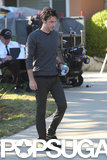 Zach Braff was on the LA set of his film, Wish I Was Here, on Wednesday.