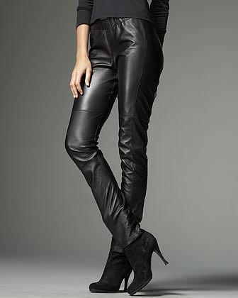 Neiman Marcus Stretch Leather Leggings