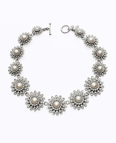 Floral Pearlized Bead and Crystal Necklace
