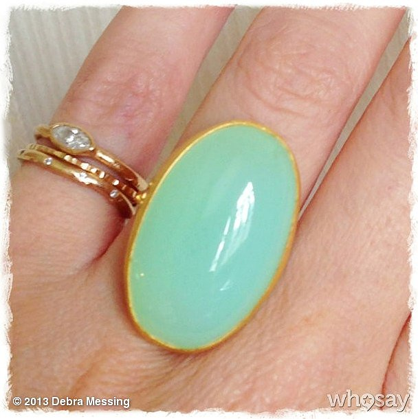 Her oversize chrysoprase ring put Debra Messing in a happy mood! Source: Instagram user therealdebramessing