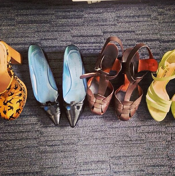 Here are just a few of the desk shoes that we keep handy for those fashion emergencies.