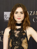 For the Madrid photocall for her film The Mortal Instruments: City of Bones, Lily Collins went with tousled waves and dusty rose shades on her lips and cheeks.