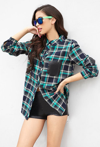 FOREVER 21 Faux Leather-Trimmed Plaid Shirt