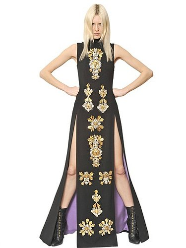 Embroidered Wool Crepe Long Dress