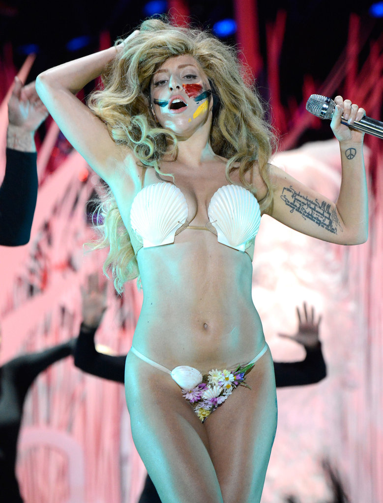 Lady Gaga sported a shell bikini for her VMAs performance.