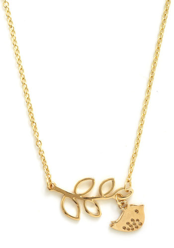 The Girly Bird Necklace in Gold Leaves