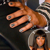 Jennifer Hudson graced the VMAs red carpet in a black and white number, which she paired with a sparkling black manicure.