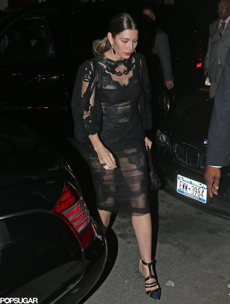 Jessica Biel wore a sheer dress for the VMAs afterparty in NYC.