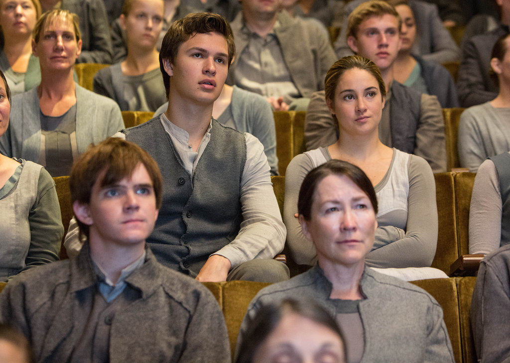 Shailene Woodley as Tris and Ansel Elgort as Caleb in Divergent.