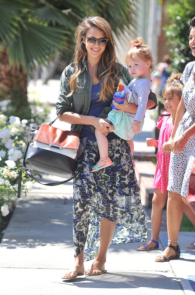 Jessica Alba went to lunch in LA with Haven on her hip.