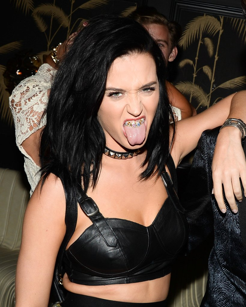 Katy Perry showed off her grill inside the afterparty.