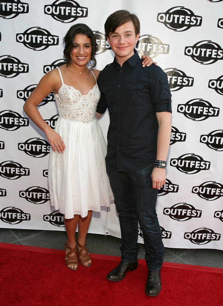 Lea Michele and her close castmate Chris Colfer posed together on the red carpet at the Gay and Lesbian Film Festival in LA in July 2009.