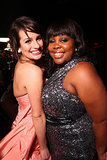 Lea Michele was all smiles with Glee costar Amber Riley during InStyle's Golden Globes afterparty in LA in January 2011.