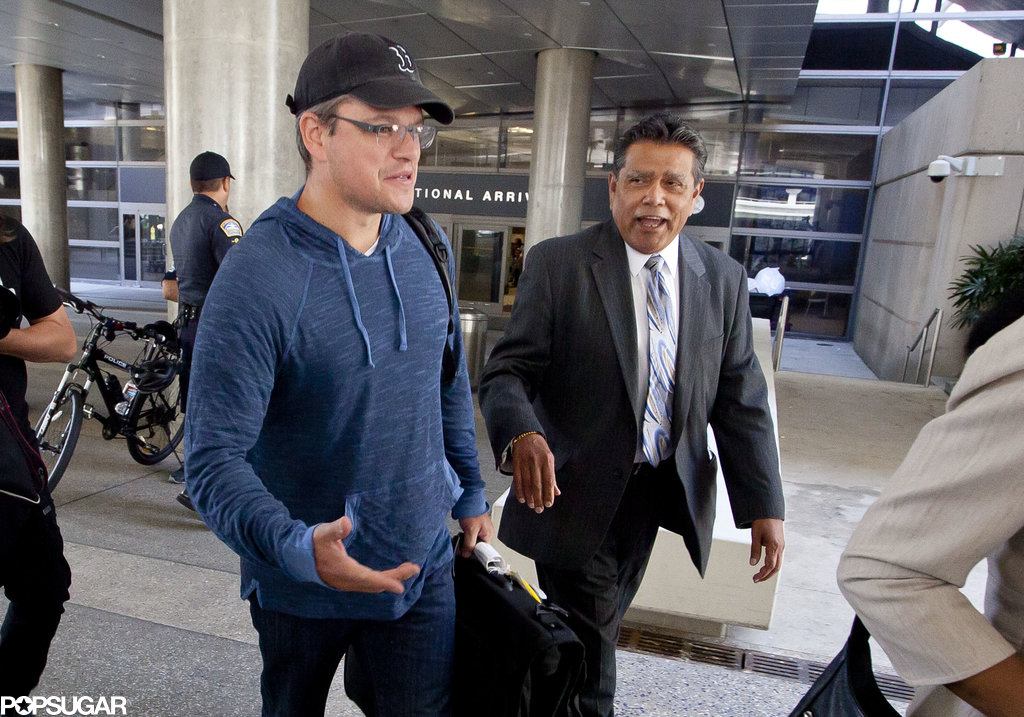 Matt Damon Lands at LAX Amid Candid NSA Comments