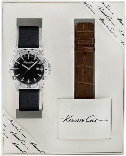 Kenneth Cole New York Watch Set, Men's Interchangeable Black and Brown Leather Straps 32mm KC5162