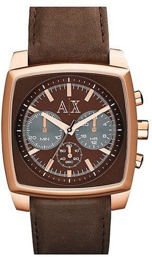 AX Armani Exchange Square Chronograph Suede Strap Watch, 40mm Brown/ Rose Gold