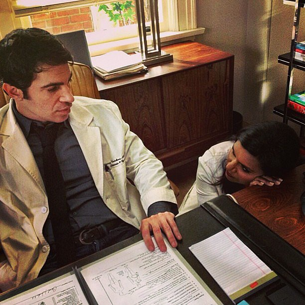 Kaling and Messina got into doctor mode on the set. Source: Instagram user mindykaling