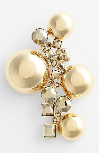 St. John Collection Bead & Crystal Brooch Light Gold/ Crystal Metallic