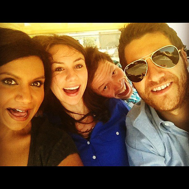 Kaling, Pally, and Barinholtz hopped in a golf cart en route to a table read. Source: Twitter user mindykaling