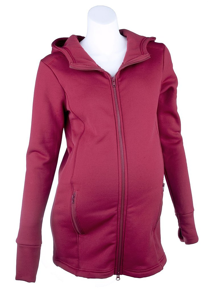 We love the color of this ruby maternity jacket ($129) from Mountain Mama that's made from stretch fleece specially for active moms-to-be.